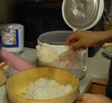 Rice into tub