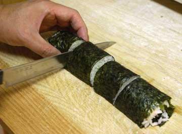 Cut sushi roll again into 4