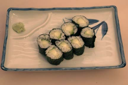 Image of cucumber rolls on plate