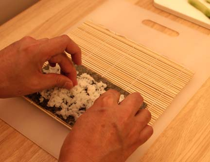 spread rice over nori