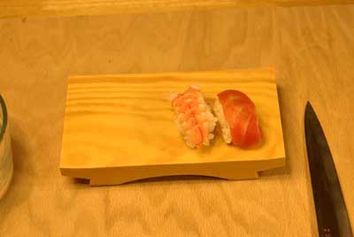 Nigiri zushi on wood platter